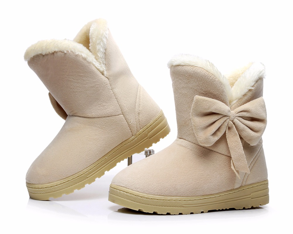 Warm Winter Snow Boots Bowtie Women Boots Flock Inside Platform Ankle Boots Casual Flats Comfortable Shoes Woman shoes