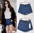 2016 mujeres de moda de señora Retro Denim cintura alta brida Blue Jean Shorts pantalones cortas más el tamaño S-XXL