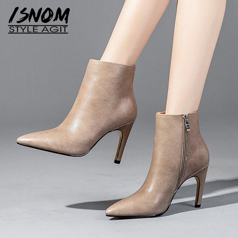 be823bc5 Invierno Femeninas Cremallera Zapatos Genuino Tacones Short Oficina Nuevo Cuero  Altos 2018 Mujer Botas Black Plush ...