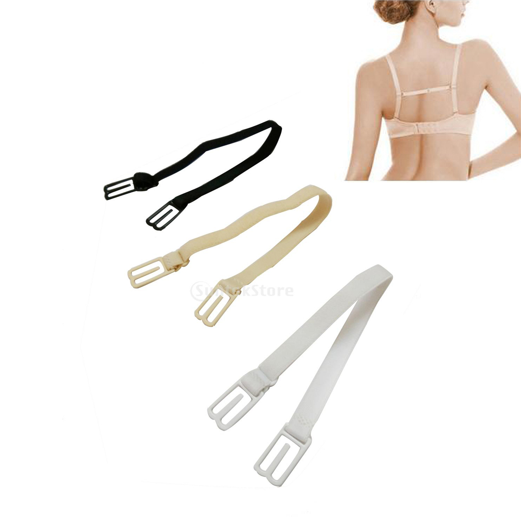 3PCS Women Nylon Non Slip Bra Strap Bra Back Straps Holder Clips 23.5cm-34cm