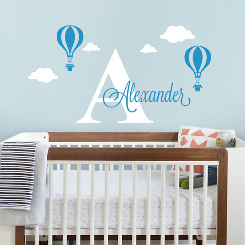 Custom Made Personalized Name Hot Air Balloon Wall Stickers Home - Custom made vinyl wall decals