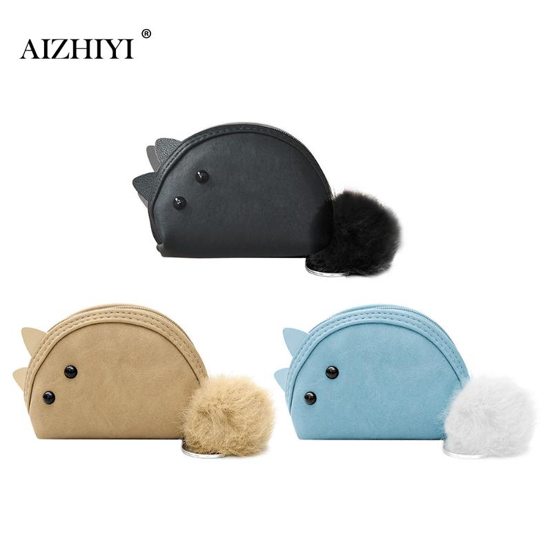 Women Cute Soft PU Leather Hasp Cartoon Short Wallet Animal Change Purse with Fur Plush Mini Zipper Card Holder Girls Handbag