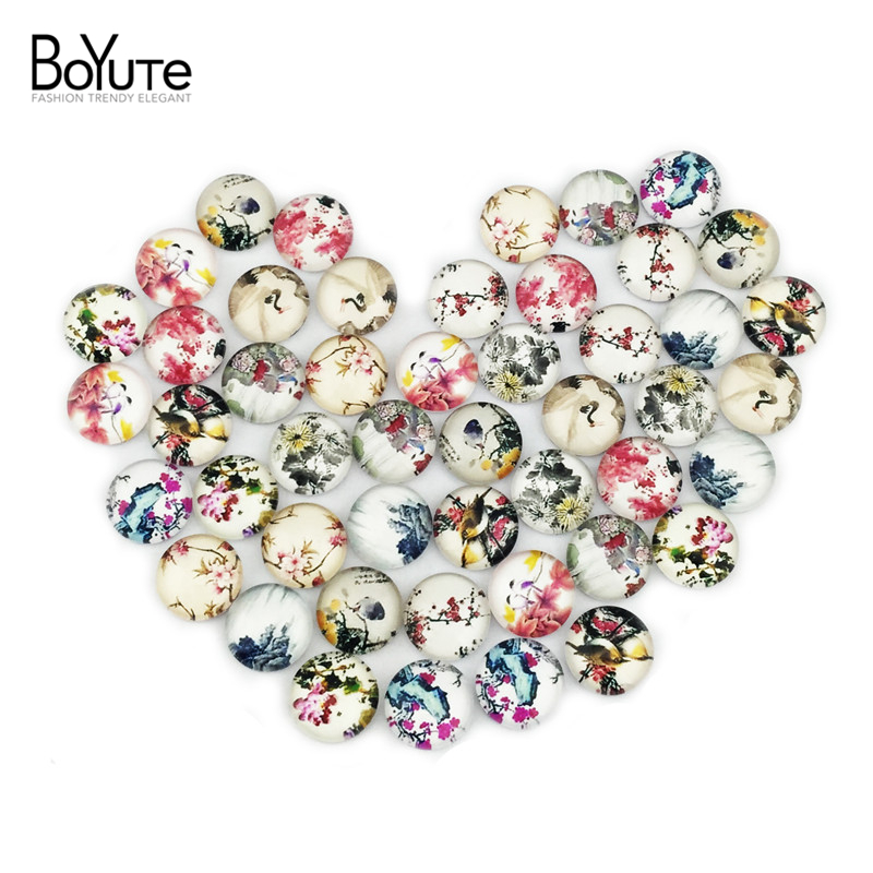 (48 pieces/lot) 12mm round cabochons mix bird/cat/cartoon sign image glass cabochon for earring blank settings xl3117
