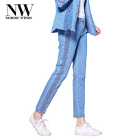 Nordic Winds Embroidery Jeans Stretch Femme Skinny Light Blue Freddy Lace Jeans Business Trousers Woman Pencil