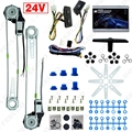 DC24V Car/Truck Front 2-Doors Electric Power Window Kits with 3pcs/Set Switches & Harness #FD-4064