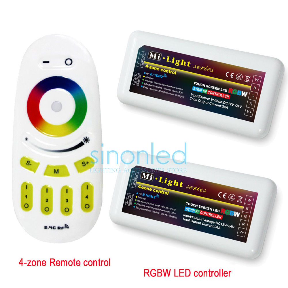 Free shipping Remote+2x RGBW LED Controller one 2.4Ghz 4-Zone Wireless RF Touch remote For 5050 3528 RGBW Led Strip Light milight remote wifi 4x rgbw led controller group control 2 4g 4 zone wireless rf touch for 5050 3528 rgbw led strip light