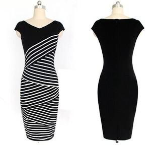 Striped Short Sleeve Pencil Dress