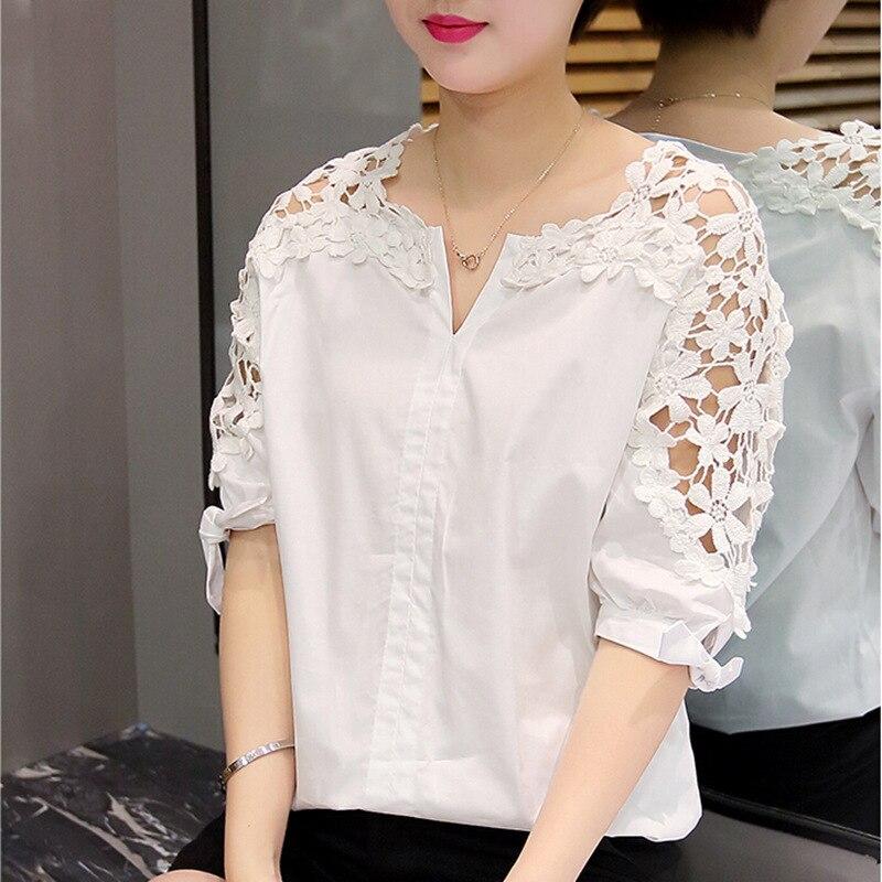 De Las Mujeres del verano Blusas de Encaje  de La Mujer de Moda Camisa de Encaje