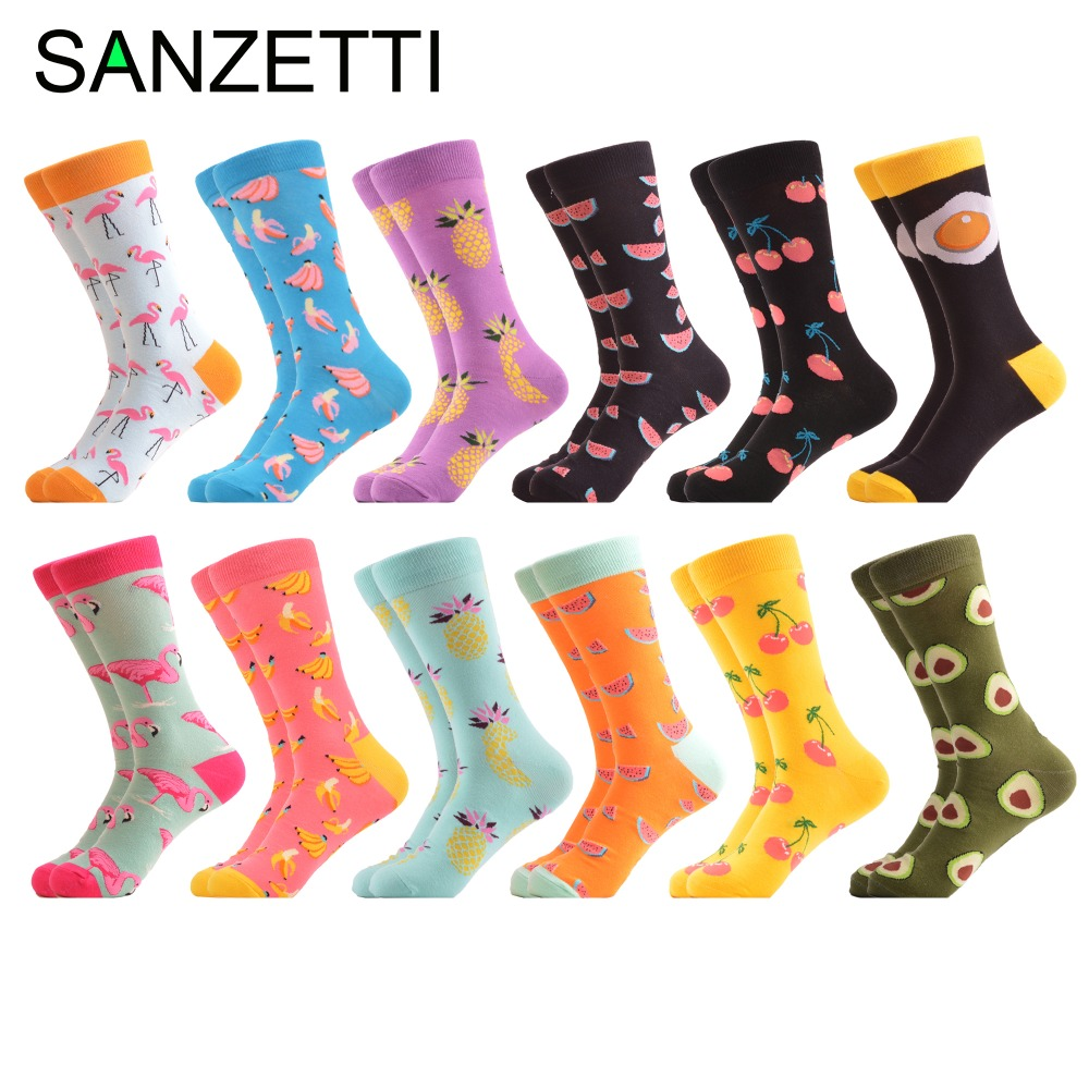 SANZETTI 12 pairs/lot Colorful Combed Cotton Causal Dress Men's Crew   Socks   Fashion Flamingos Banana Pattern Funny Wedding   Socks