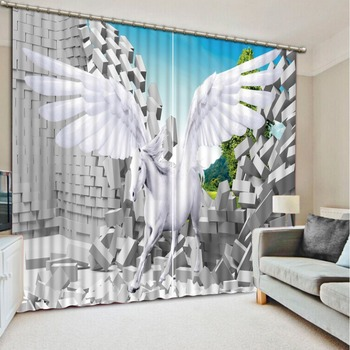 photo Blackout Window Drapes Luxury 3D Curtains For Living room Bed room Office Hotel Home white horse curtains
