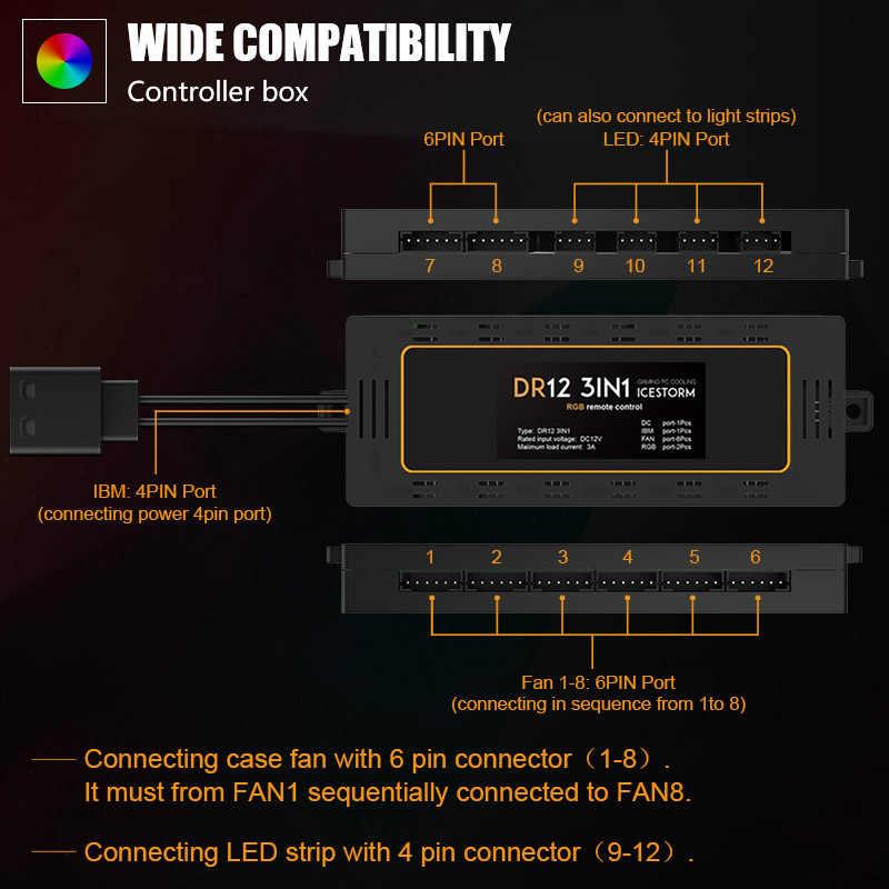 DarkFlash Aigo DR12 чехол для компьютера PC охлаждающий вентилятор светильник RGB регулируемый светодиодный 120 мм тихий дистанционный кулер вентилятор светодиодный светильник s Ламповые полосы