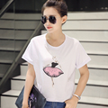 Women's spring and summer 2017 new cotton short sleeved T-Shirt Size Women loose thin coat shirt female