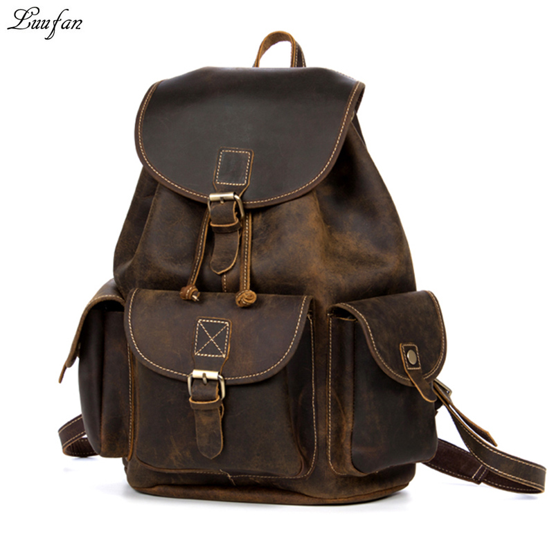 Crazy horse Leather backpacks women Brown unisex cow leather laptop rucksack Vintage real leather school bag