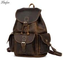 89d7c82087ce Crazy horse кожа рюкзаки для женщин коричневый унисекс корова ноутбук  рюкзак винтаж из натуральной кожи школьная сумка Прочный