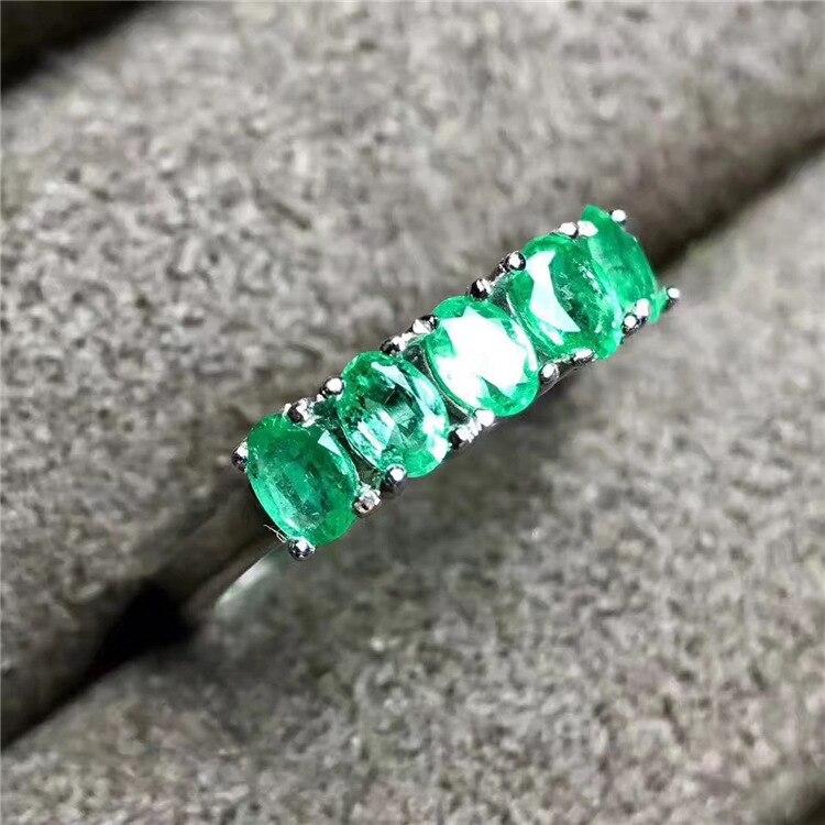 Anello verde smeraldo naturale solid 925 sterling argento anello verde smeraldo rotonda naturale smeraldo pietre preziose anello semplice anello di disegno-in Anelli da Gioielli e accessori su  Gruppo 2