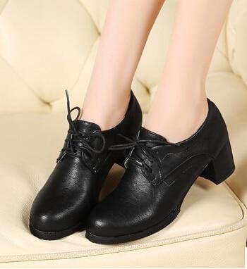 Épais Vent Les Modèles Dentelle orange Noir Printemps Chaussures blanc Style En Britannique Collège Oxford Petit Noires Rond Cuir Avec wORXHFPqfF