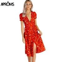 Aproms сладкий красный цветочный принт ТРАПЕЦИЕВИДНОЕ ПЛАТЬЕ Лето v-образный вырез обернуть галстук-бабочка Сплит платье 90 s Уличная Повседнев...