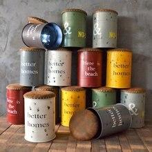 Vintage Industrial viento plancha de almacenamiento taburete Bar taburete barril café americano decoración suave