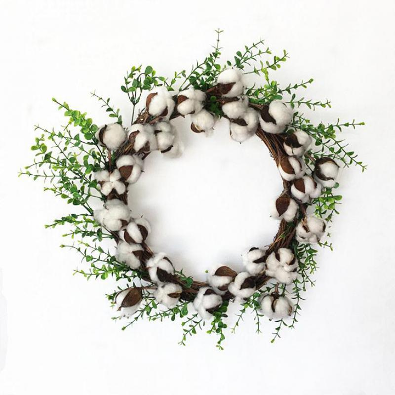 Unique Design Christmas Creative Home Decoration Garland Artificial Dry White Cotton Flower Wreath for Xmas Wall Decoration