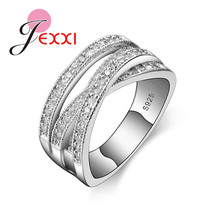 Classic Pure 925 Sterling Silver Wedding Rings For Women Bijoux Cross Style Cubic Zirconia Geometric Engagement Jewelry classic rhodium finish men sterling silver 925 ring 5 5mm round cubic zirconia jewelry bijoux homme size 10 to 13 r500