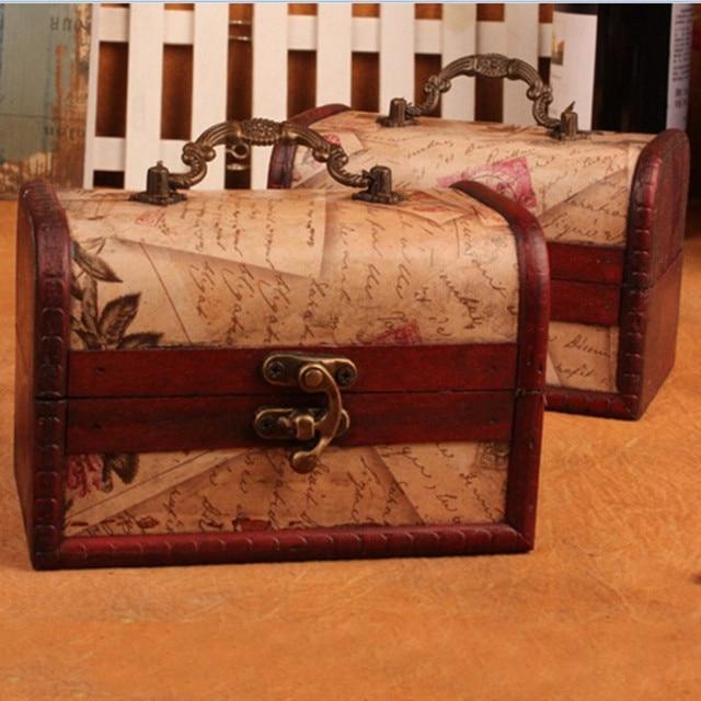 Antique Wooden Jewelry Box Small Storage Box Nostalgia Classical - Antique map box