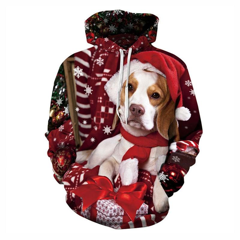 Livraison directe à capuche chien portant un chapeau de noël Streetwear noël présent unisexe sweat à capuche personnalisée à manches longues