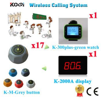 Wireless Food Account Pager Service System Best Price For Restaurant CE Approval(1 display+1 watch+17 call button)