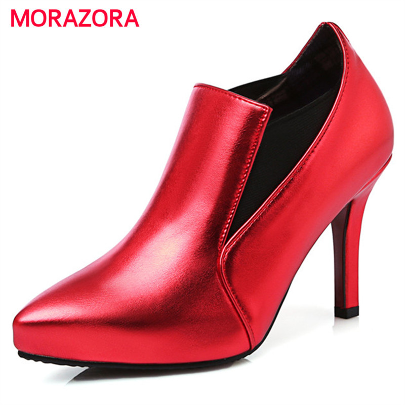 MORAZORA Pointed toe single shoes in spring autumn thin heels shoes woman 8.5cm fashion sexy lady women pumps PU big size 34-46 8cm 2015 spring and autumn single shoes cutout hasp pointed toe high heels ol thin female fashion sandals