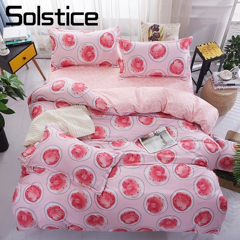 Solstice Home Textile Pink Megranate Bedding Set Girl Kid Teen Linen King Queen Twin Duvet Quilt Cover Pillowcase Flat Bed Sheet