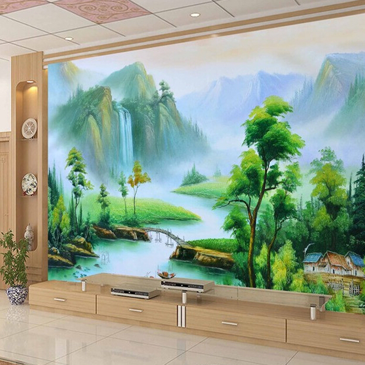 Free shipping custom 3d mural wall bamboo design paper for Bamboo mural wallpaper
