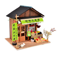 DIY Handmade Doll House Miniature Furniture Chinese Fresh Fruit Store Wooden Dollhouse Toys for Children Friend Birthday Gift