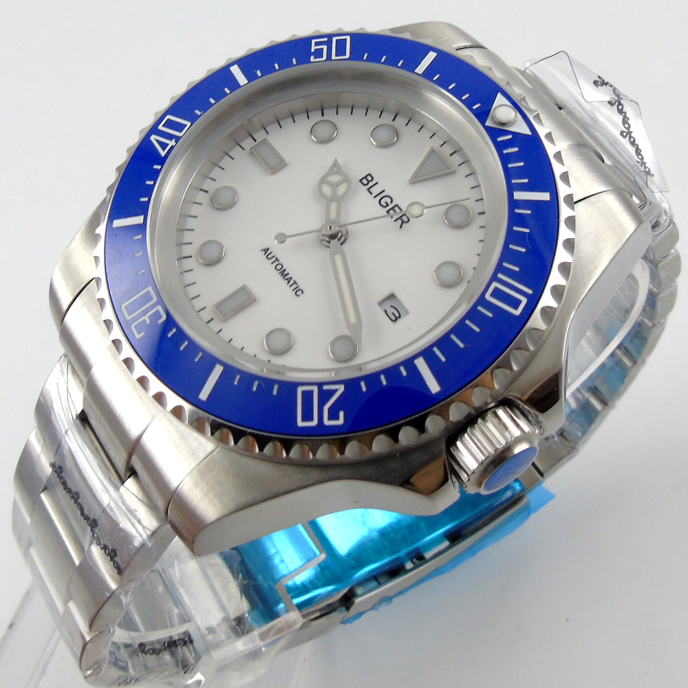 Bliger 44mm white Sterile dial blue Ceramic Bezel automatic mens watch