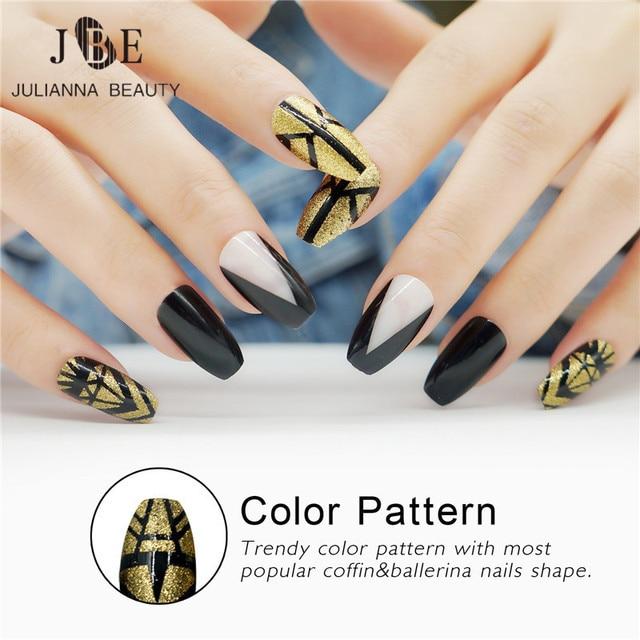 Julianna Beauty 24pcs False Nails Long Ballerinas Fake Nails UV Gel ...