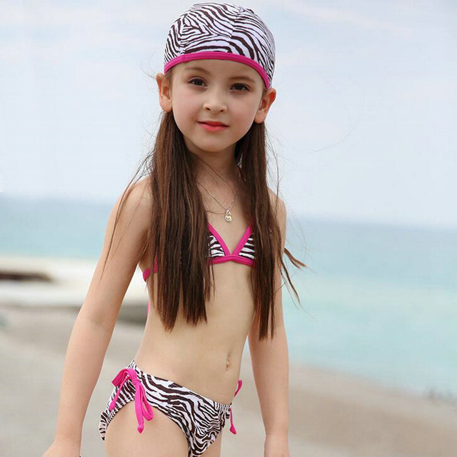06fb51f92d1ee USEEMALL Girls Bathing Suits Kids bikinis Set Zebra Print Swimming Suit for Kids  Children Girl Beach Wear with Swimming Cap
