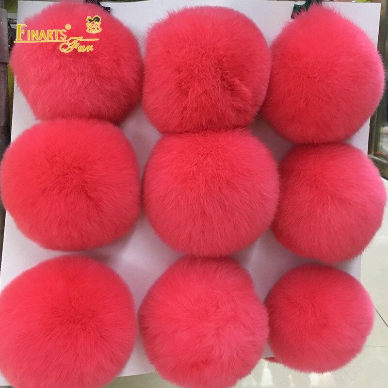 DIY 9cm Flully Pompons 100% Real Rex Rabbit Fur PomPom Solid color Fur Balls Genuine Fur for Bag Hats Cap Scarf Gloves New