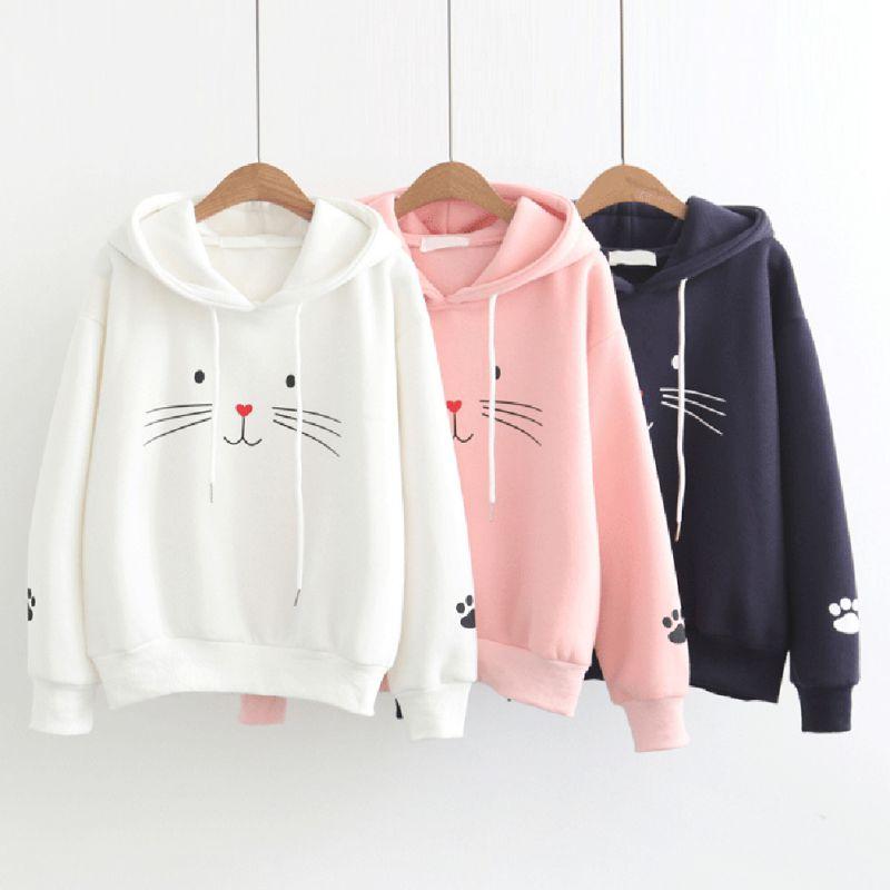 2019 Winter Autumn Women Plus Velvet Warm Plus Size Cute Cat Print Pullover Hoodie Long Sleeve Casual Loose Hooded Tops