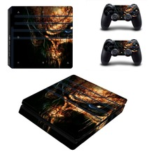 Skull Vinyl Decal PS4 Slim Sticker for PS4 Slim Console and Two Controller Skins for Sony Playstation 4 Slim Cover