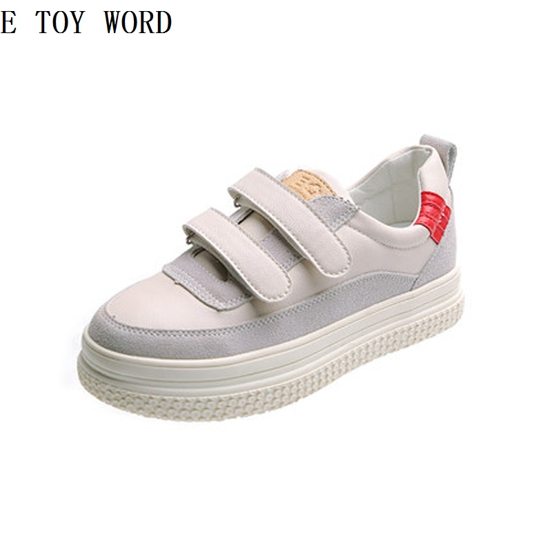 цена на Han edition casual shoes for women's shoes in the fall of 2018 new large base white shoe joker women flat shoes