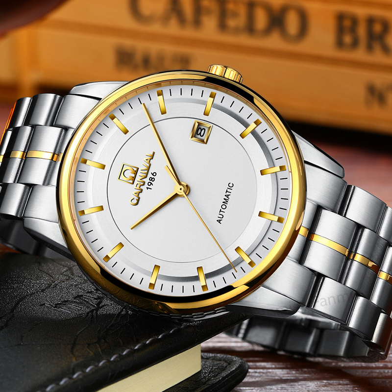 Luxury Carnival Mechanical Watch Men Import movement Stainless Steel business Calendar Sapphire Gold Wristwatch reloj hombre relojes full stainless steel men s sprot watch black and white face vx42 movement