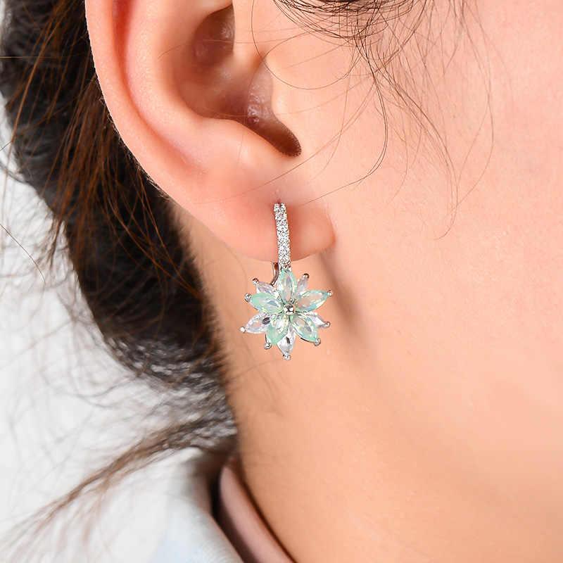 H: HYDE แฟชั่นโรแมนติกน่ารักล้างหินดอกไม้รูปร่างสะดวกง่าย Hoop ต่างหูทองแดง Cubic Zirconia สำหรับผู้หญิง