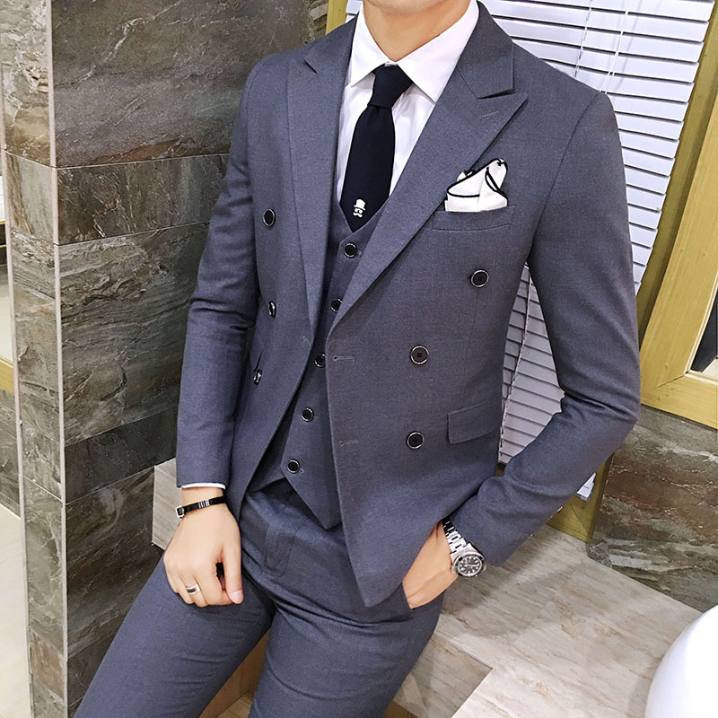 Spring Men's Double-breasted Business Suit Terno Slim Masculino Three-piece Groomsman Suit Male Sets