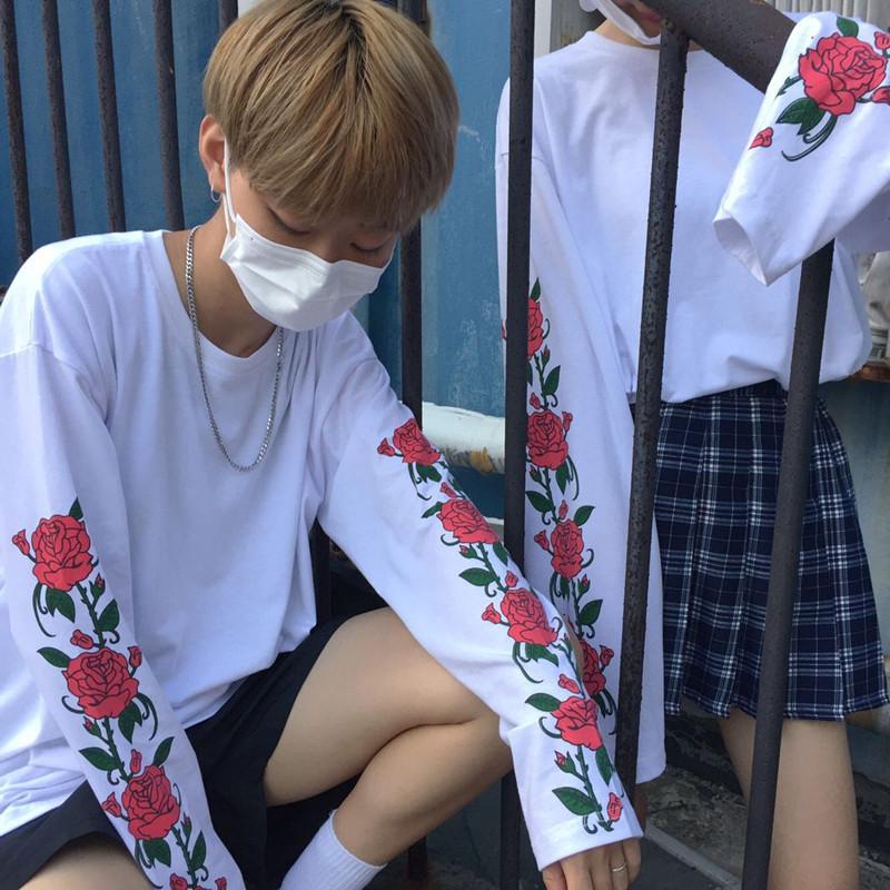 HTB10Q CPVXXXXXTXXXXq6xXFXXXg - T Shirt Style Thin Long Sleeve Print Flower Rose PTC 145