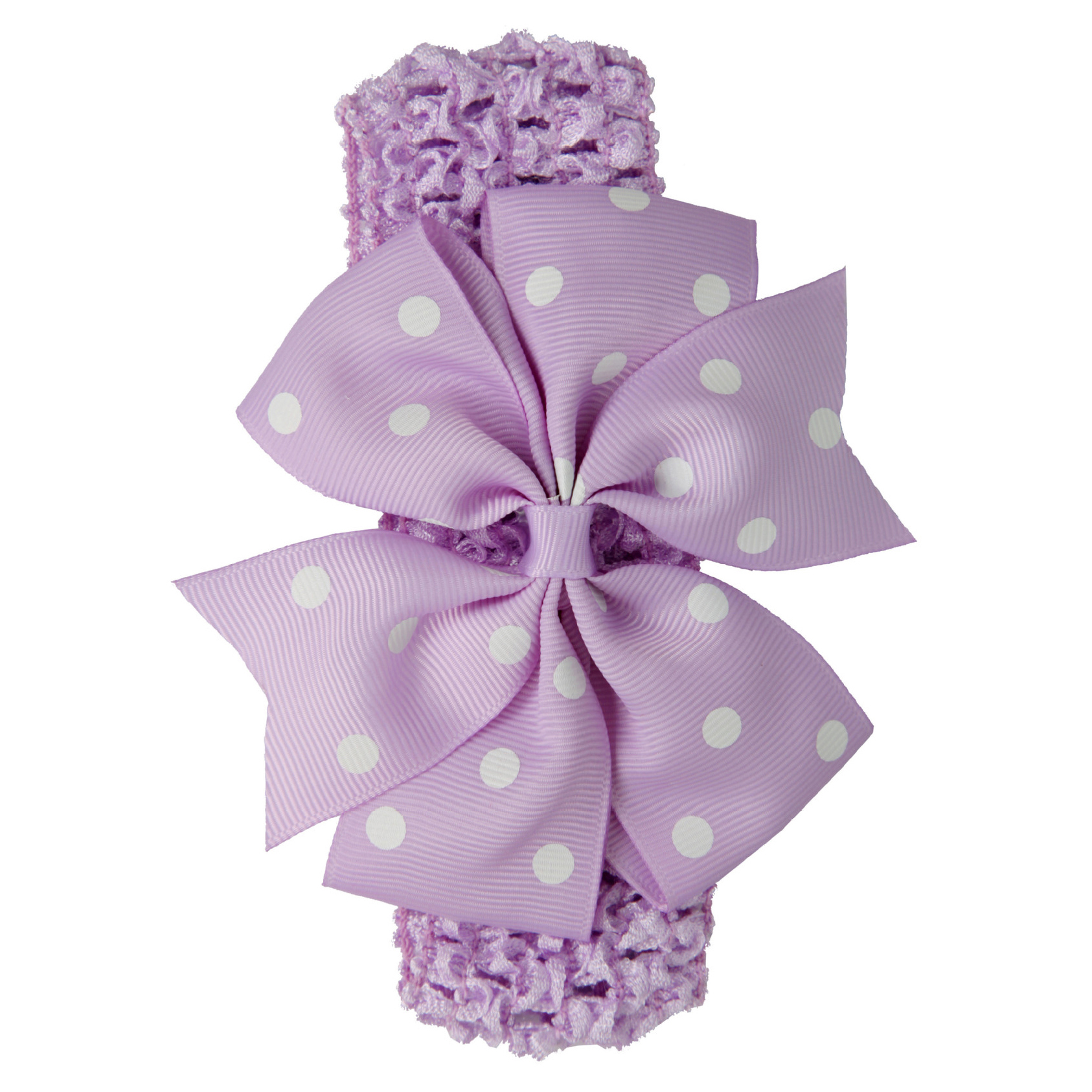 Baby Girl Rib Dovetail satin ribbon Polka Dot Bow Elastic hair band(Light purple)
