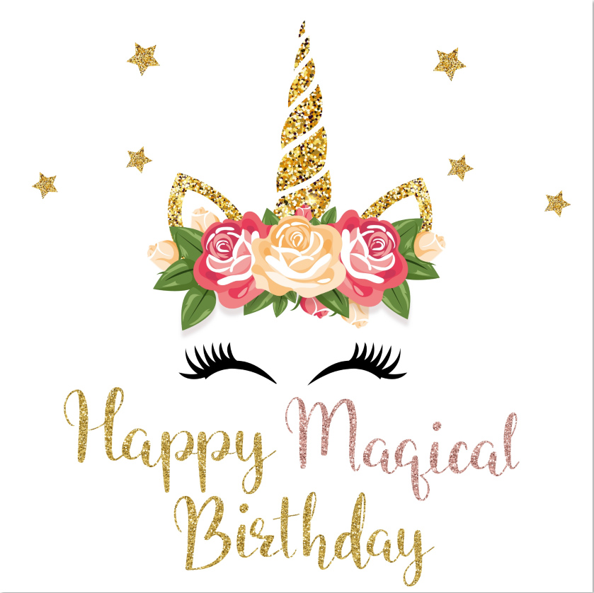 8x8ft Magical Happy Birthday Gold Unicorn Horn Face Stars