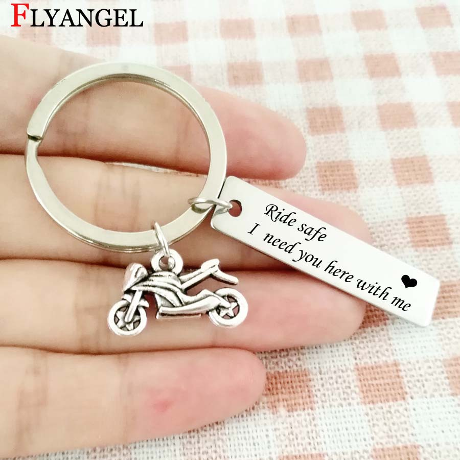 US $2 24 41% OFF|Fashion Engraved Keychains Ride safe I need you here with  me Motorcycle Pendant Car Keychain Couple Jewelry Present Keyrings-in Key
