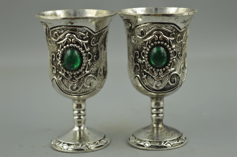 Exquisite Tibet Silver Copper Carve Flower Inlay Bead Rare Pair Wine Cup Gift RT