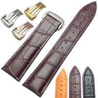 20mm 22mm Genuine Leather Watchbands Wiht Butterfly Deployment Clasp Watch Band Strap Bracelet Replacement Accessories