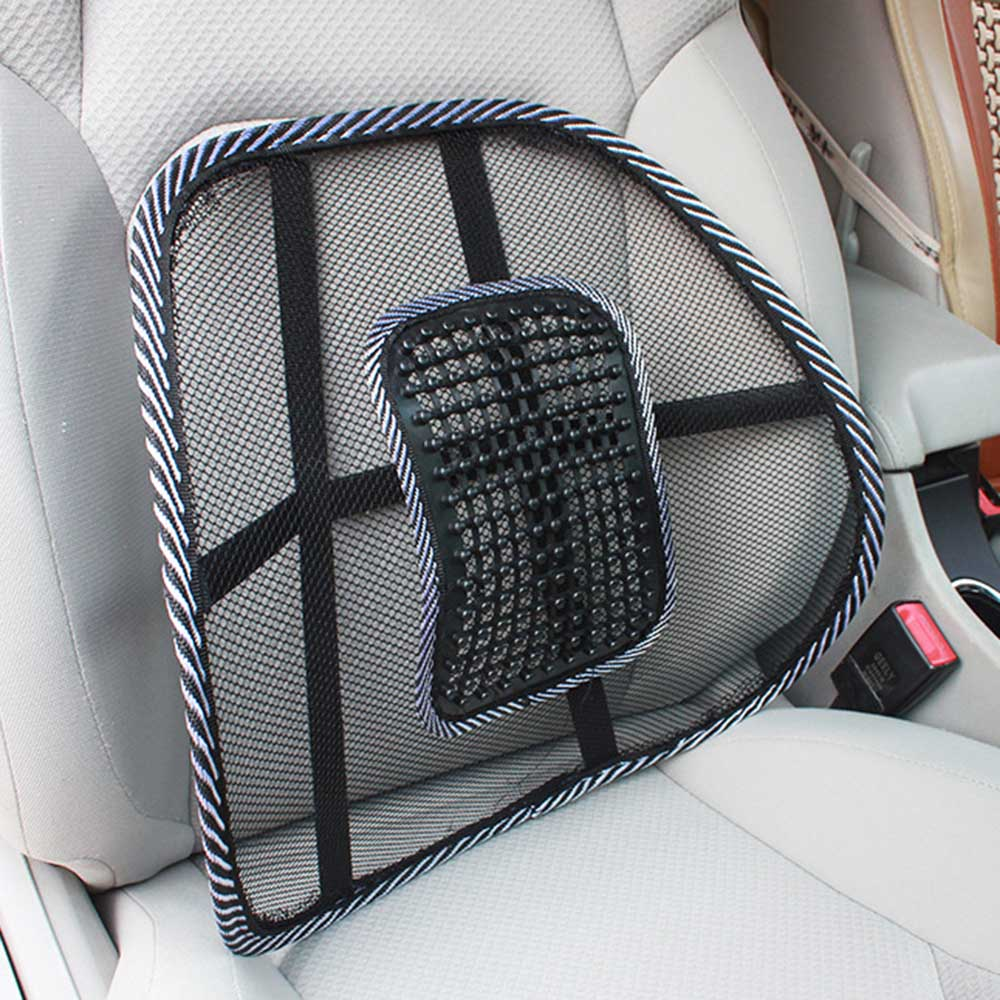 Universal Car Back Support Massage Chair Lumbar Waist Cushion Mesh Ventilate Cushion Pad For Home Office Car Vehicle