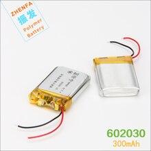 Bateria de Polímero Mah para Ponto Mp3 do Bluetooth 602030 de Lítio 3.7 V 300 Caneta Leitura Ponto Ler Gravador Pequeno Alto-falantes Fone Ouvido