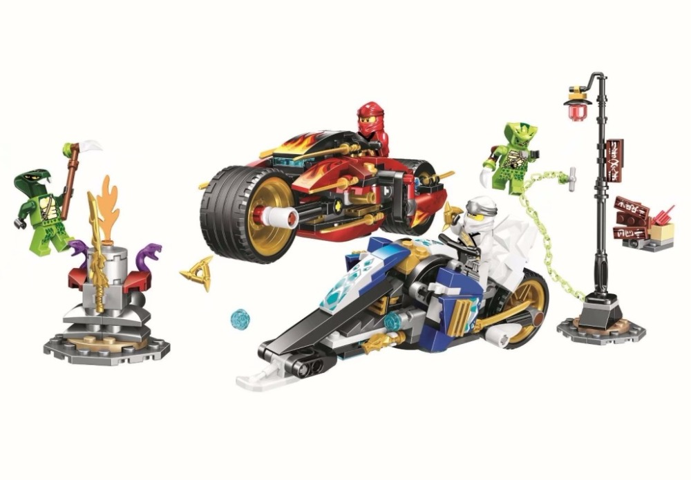 New Ninjago Compatible with lego Ninja 70667 Kai's Blade Cycle and Zane's Snowmobile Figures Model Building Blocks Toys For Kids-in Blocks from Toys & Hobbies